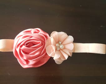Satin rose and chiffon flower baby headband| pearl and rhinestone center| sparkly pink stretchy elastic