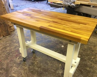 Solid Oak Iroko Beech Or Walnut Long Grain Top Breakfast Bar Table And  Height