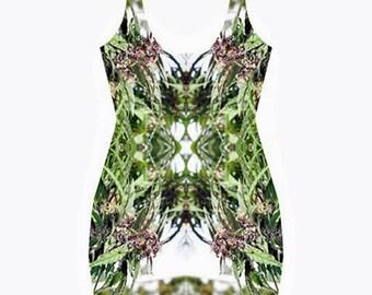 Body Con Dress,Ganja Dress in a Williams Wonder Marijuana Print,Beautiful Fractial Butterfly Design,Rave Dress,Festival Dress,Clubwear Dress