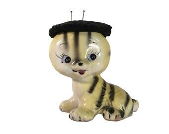 Vintage Ceramic Pincushion Cat Mid Century