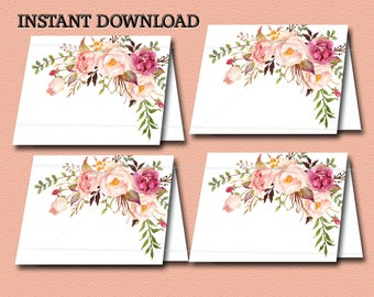 Peach and Gold Floral Boho Baby Shower Food Tent Cards or Place Cards Printable, Boho floral Baby shower INSTANT DOWNLOAD 029