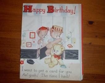 Vintage 1940's Child's Teddy Bears Birthday Story Card - Best Teddy Bears '40's Happy Birthday Greeting Card - Vintage Teddy Bear Card