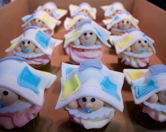 Baby Under Blanket Cupcake Toppers (nine)