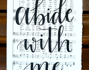 Handlettered Hymn Sheet Abide With Me Music Wall Art sheet music paper Ephemera Home Decor black white