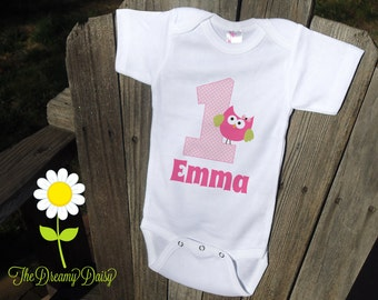 Personalized 1st Birthday Baby Bodysuit for Girls - Pink Owl First Birthday Infant Creeper - Baby Girl Personalized Bodysuit or T-Shirt