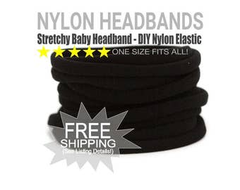 WHOLESALE Nylon Spandex Baby Headband, BLACK Newborn Skinny Very Stretchy One Size Fits most, Baby Girl Headband