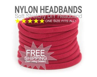 Bulk Baby Headbands / Wholesale RED Headband / CHRISTMAS RED / Skinny Stretchy One Size Fits most Nylon