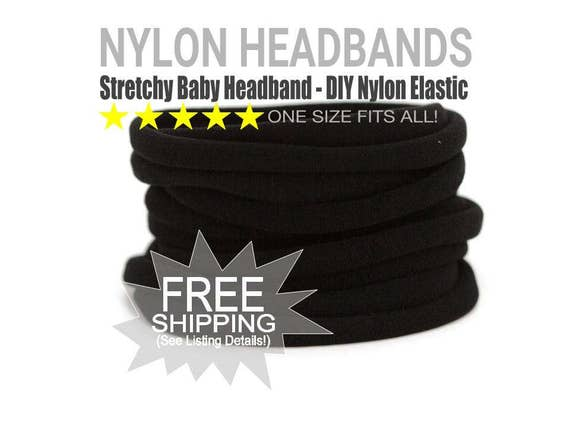 WHOLESALE Nylon Spandex Baby Headband, BLACK Newborn Skinny Very Stretchy One Size Fits most, Baby Girl Headband