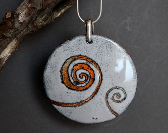 Enamel pendant, enamel jewelry, enamel , enamel necklace, round pendant