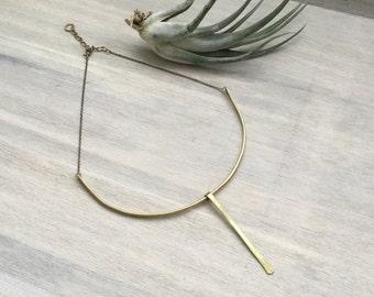 Hammered Brass Bar Collar