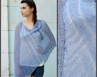 Womens Hand Knit Poncho, blue Shawl Wrap, Convertible clothing, Summer fashion, Asymmetrical Top, Size S - L, oversized Cowl Scarf Shrug