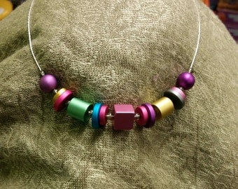 Anodized Aluminum Bright Mix Necklace with Marquis Earrings
