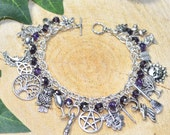 Pagan Ways Charm Bracelet with Amethyst Gemstone and Purple Crystal Beads  Handmade Jewellery for Wicca Witch