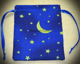 Night Sky Handmade Tarot or Rune Bag for Pagan, Wiccan, Witch, Moons, Stars