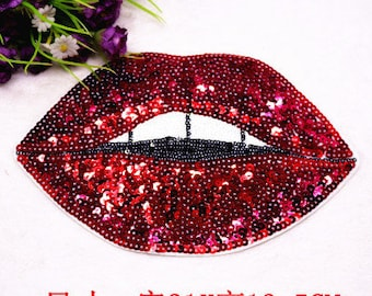 Lip sequins embroidered patch applique mouth vintage patch applique sew on patch
