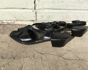 Vintage Black Peep Toe Cut Out Penaljo Dress Leather Sandals Size 9 to 9.5  Fifties Sixties Ladylike Pin Up Rockabilly