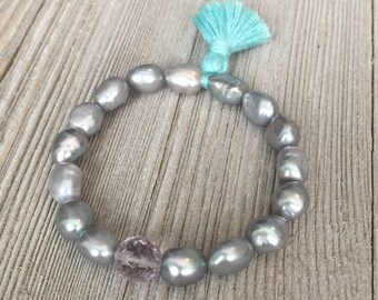 "Beaded stack bracelet~elastic bracelet~7""-~faceted light pink amethyst beads~silver gray fresh water pearl beads~tiny turquoise tassel~"