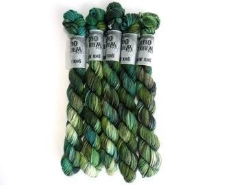 Sock Yarn Mini's Superwash Merino/Nylon 85/15 4ply Handdyed Yarn: EUCALYPT