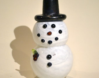 Snowman Hand Blown Glass