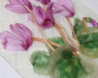 Pink Cyclamen Card, ribbon embroidery, ribbon work