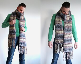 Chunky knitted extra long scarf for men - men winter accessories - men scarf - multicolored knit scarf - hand knit male fashion - male scarf