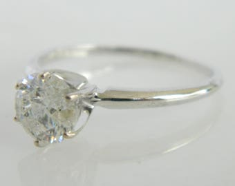 Lovely 1.0 Carat Diamond Solitaire 10K White Gold Engagement Ring size 7