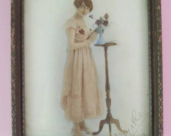 Vintage 1920s photo print small portrait frame lady with flowers