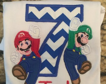 Boy's Mario and Luigi Personalized Birthday Shirt