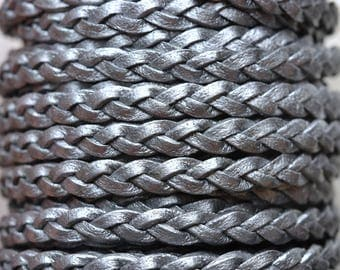 Grey  - 5mm Flat Braided Leather per yard