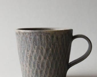 rusty dark blue faceted mug