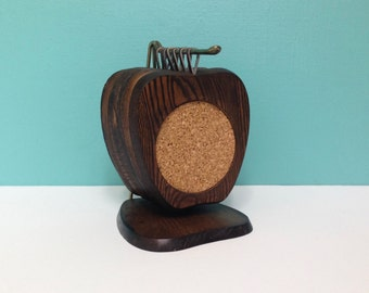 Vintage Wood Apple Hanging Coasters Set