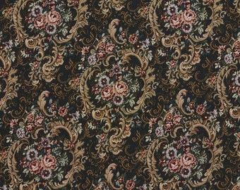 Navy Gold And Burgundy Floral Tapestry Upholstery Fabric By The Yard | Pattern # F642