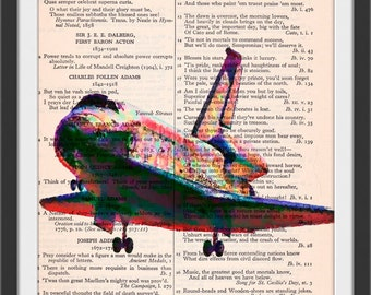 Space Shuttle Seurat Style Art Beautifully Upcycled Vintage Dictionary Page Book Art Print