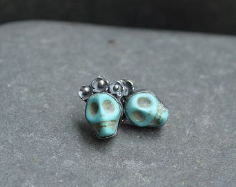 Dyed Torquoise Howlite Sugar Skull with Sterling Silver Earring Stud