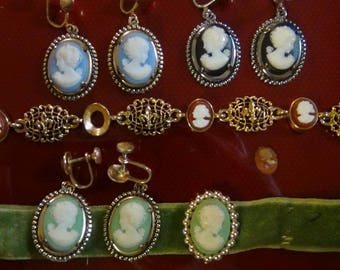 Collection of Cameos for Craft, or Finished Cameo earrings and necklace with extras!