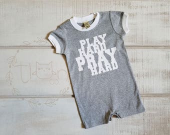 Baby Boy - Bodysuit - Baby Shower Gift - New Baby Gift - Baby Clothes - Baby One Piece - Bible Verse - Christian - Play Hard Pray Hard