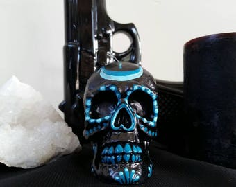 Hand painted dia de los muertos/day of the dead candle  teal