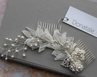 Bridal hair vine- Wedding Hairpiece - Wedding hair comb- Bridal hair comb- Bridal hair accessory- Ivory Lace Hair Comb  - ALEXANDRA