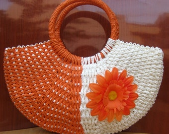 Handbag/jute bag/  boho bag / orange bag / purse /tribal bag/ fashion purse/ fashion bag/ gift purse / gift item.