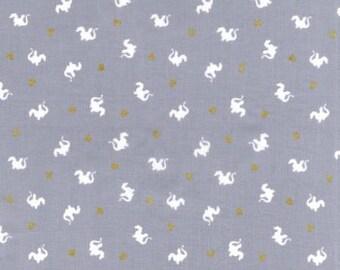 Michael Miller - Baby Dragons (metallic) on Grey