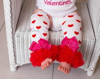 Valentines Day Heart Leg Warmers Girls Red And White Chiffon Pink Red Bows