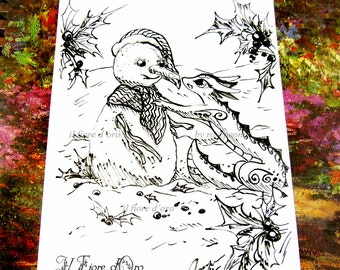 Dragon illustration- Dragon with snowman and holly sprigs. Original Haiku ink drawing on high quality paper, Italy art OOAK wiinter holidays