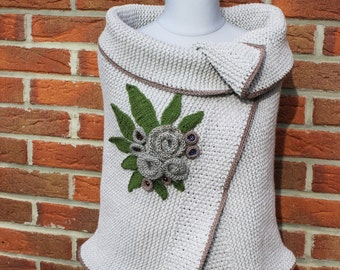Chunky Versitile Knitted  Poncho. Shawl. Wool Shrug. Capelet. Hand knitted  Shoulder  Wrap in light-grey color .  Cover  Up with flowers.