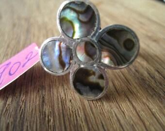 Vintage Sterling Silver Abalone Flower Petal Ring 7.75-8 (902)