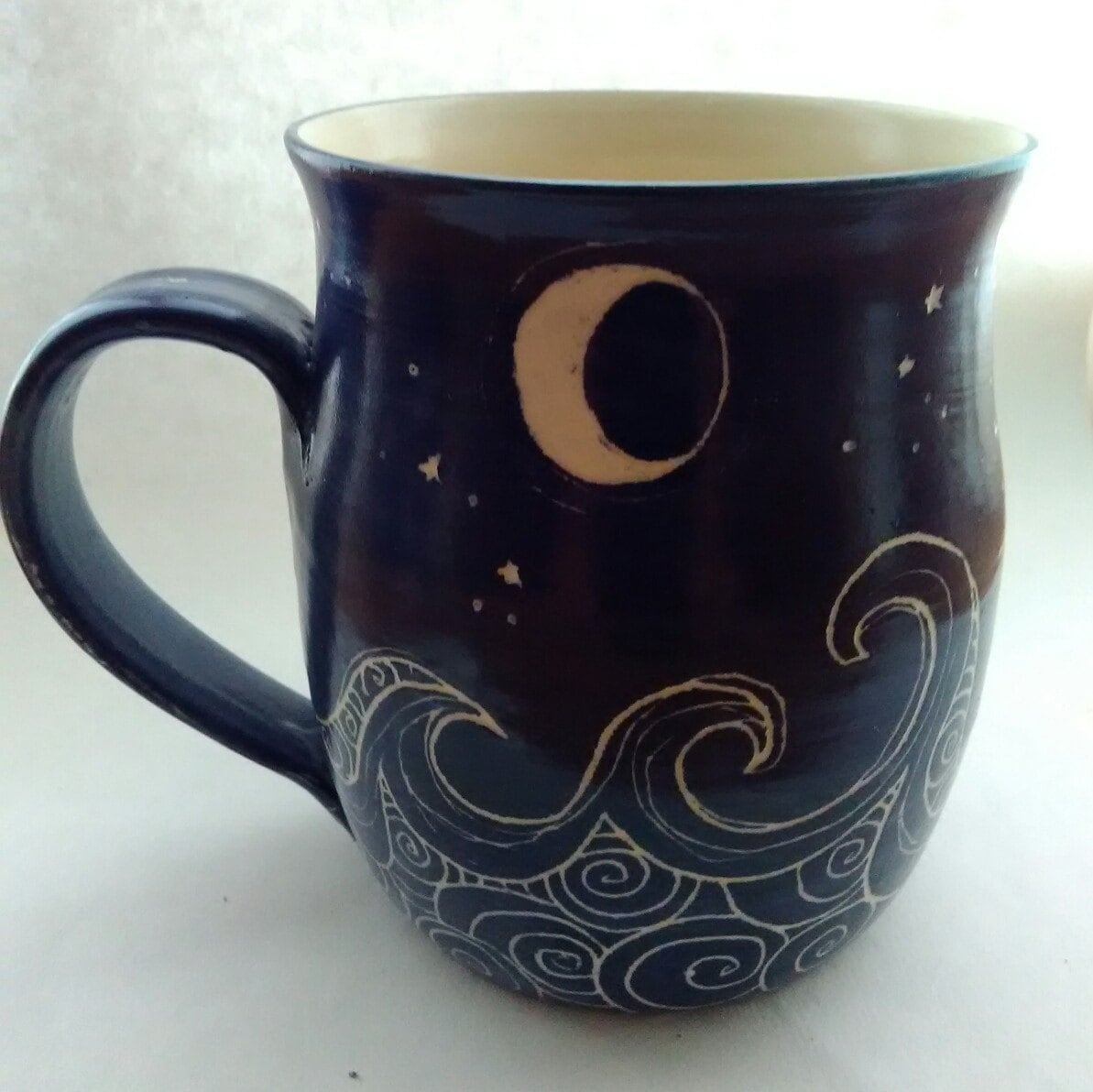 Unique Coffee Mug Ocean Waves Pattern Cup Royal Blue White