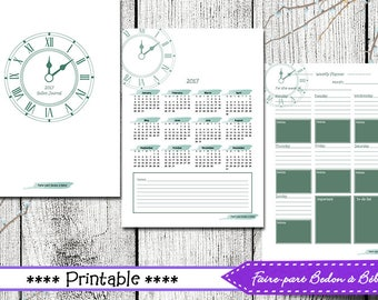 Bullet journal - 2017 Planner - Organizer - Agenda - Printable Planner - Journal Printable - english and french
