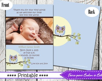 Printable Photo Birth Announcement - Owl - Digital printable file
