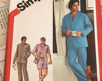 Men's pajama pattern by simplicity number 6381, size large 42 to 44, Partially cut pattern, all pieces accounted for including instructions