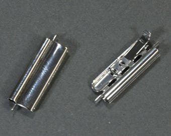 Silver Plated Slide Bead Catch 10 x 24mm **CLOSEOUT**
