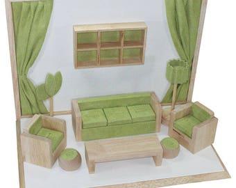 Living Room Style Showcase Display Set (Green/White/Wood) (DSE8181G)